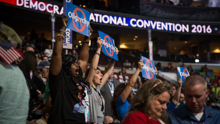 Bernie Sanders delegates express their dissatisfaction on day three of the Democratic National Convention in Philadelphia. (Emily Cohen for NewsWorks)