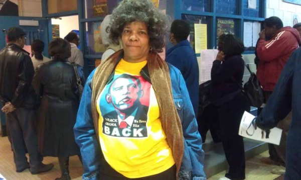"<p><p>""I think the only person that can really save us right not without putting us back in slavery is Obama,"" said Katherine El sporting a t-shirt depicting President Barack Obama. (Yasmein James/for NewsWorks)</p></p>"