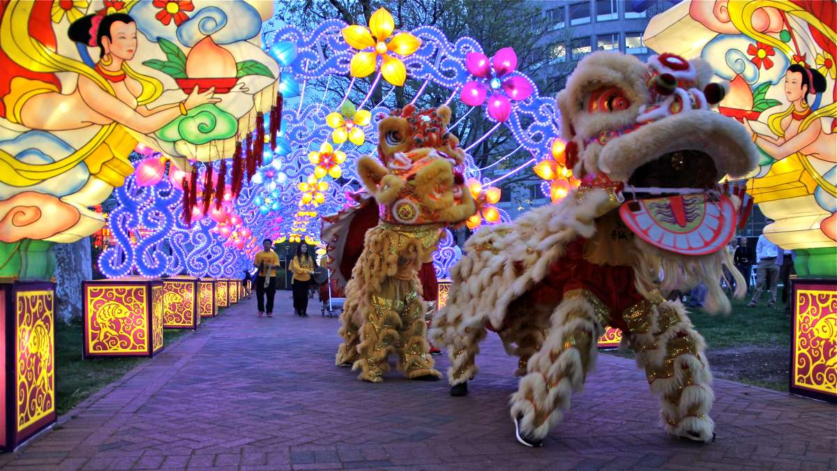 Members of the Philadelphia Suns perform a lion dance at the opening of the Chinese Lantern Festival at Franklin Square. (Emma Lee/WHYY)