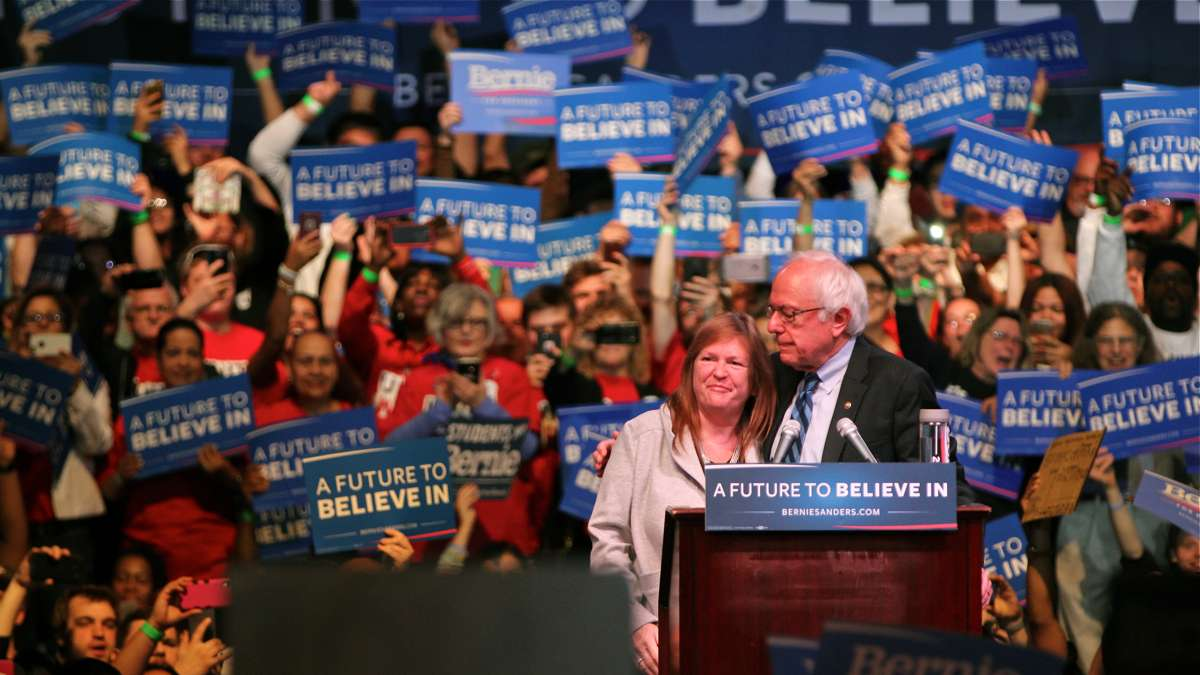 Presidential candidate Bernie Sanders and his wife, Jane O'Meara Sanders, at a rally in Atlantic City. (Emma Lee/WHYY)
