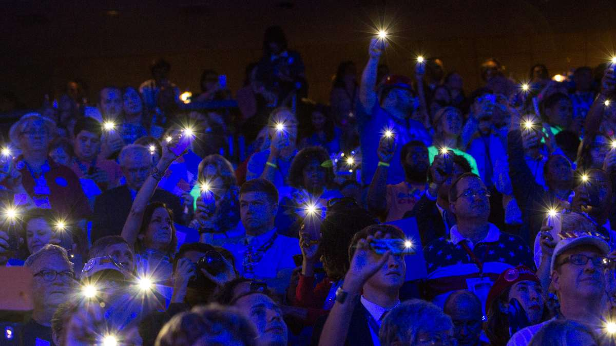 Delegates light up their phones during a Katy Perry performance at the Democratic National Convention. (Kimberly Paynter/WHYY)