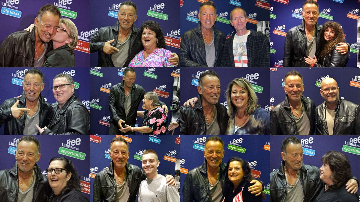 Bruce Springsteen appears at the Free Library of Philadelphia on Sept. 29, 2016, to promote his memoir and take photos with fans. (Photos contributed by readers)