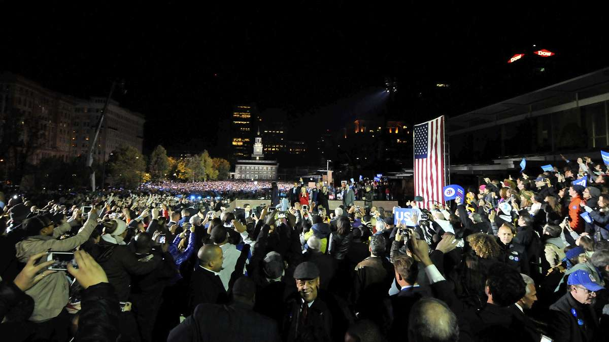 President Barack Obama and his wife, Michelle, join Democratic presidential candidate Hillary Clinton, President Bill Clinton, and Chelsea Clinton for an election eve rally on Independence Mall. (Bastiaan Slabbers for NewsWorks)