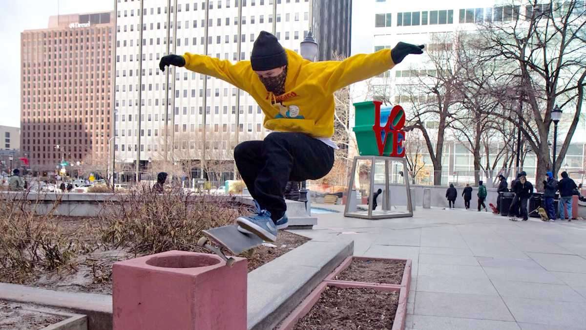 LOVE Park is opened to skateboarders for one weekend in February before it's shut down for major renovations. (Kimberly Paynter/WHYY)