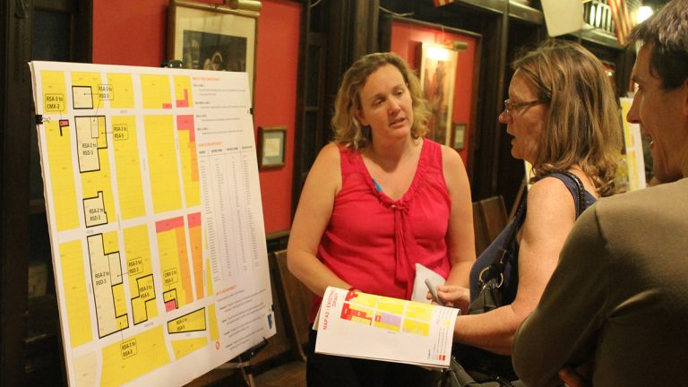 Paula Brumbelow speaks to residents about proposed zoning adjustments in Roxborough. (Matthew Grady/for NewsWorks)