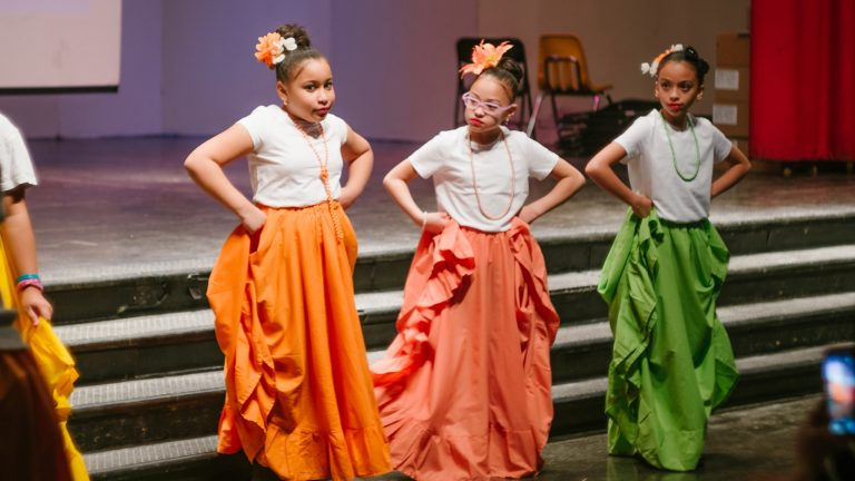 Students participate in a dance recital at Walter Cramp Elementary School in Philadelphia. (Mari Ma/Artist Year)
