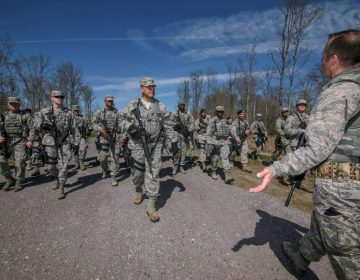 U.S. Air Force Tech. Sgt. Matthew Leinbach, right, from the New Jersey Air National Guard's 108th Security Forces Squadron, instructs airmen on squad tactics and danger crossing techniques at Joint Base McGuire-Dix-Lakehurst, N.J., April 23, 2017. (U.S. Air National Guard photo by Master Sgt. Matt Hecht/Released)