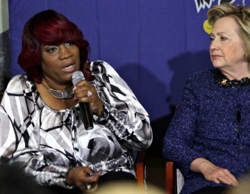 Tanya Brown-Dickerson talks about the fatal police shooting of her son, Brandon Tate-Brown, during a Hillary Clinton campaign event in Philadelphia on April 20, 2016. (Emma Lee/WHYY)