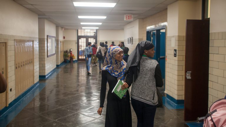 Students move between classes at the newly opened Vaux Big Picture HIgh School. (Brad Larrison for WHYY)