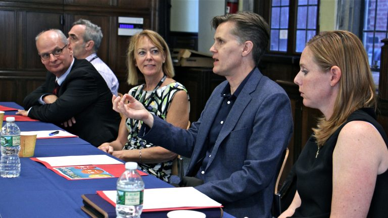 A panel of professors at the University of Pennsylvania discuss the opioid addiction epidemic. They are (from left) dental surgeon Elliot Hersh, psychiatrist Kyle Kampman, registered nurse Peggy Compton, chemist Jeffrey Saven and veterinarian Mary Robinson. (Emma Lee/WHYY)