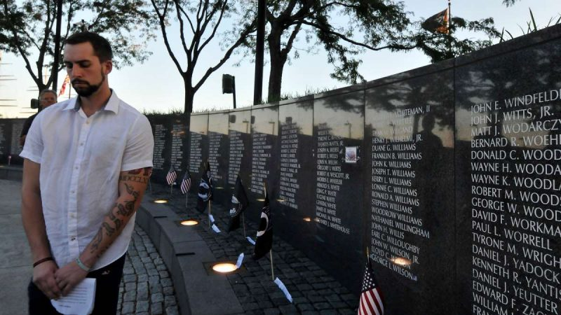 Soldiers missing in action are remembered during a ceremony at the Vietnam Veterans Memorial in Philadelphia Friday.