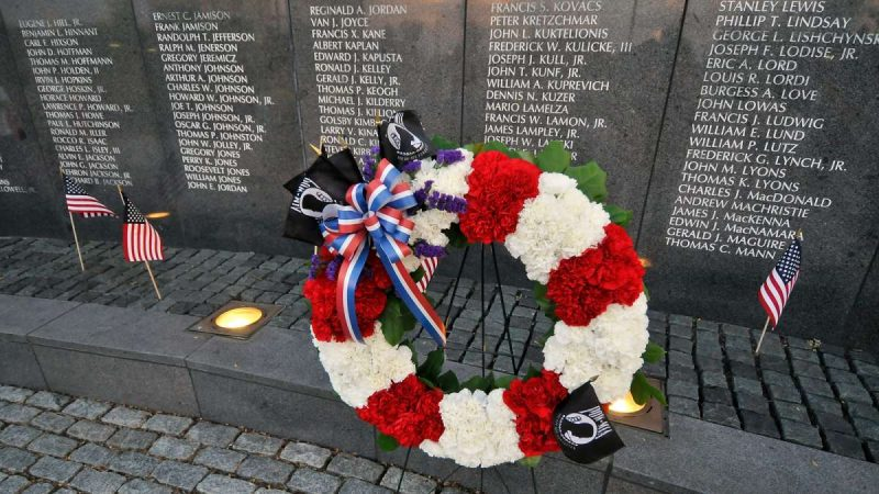 A wreath is laid at the Philadelphia Vietnam Veterans Memorial during a ceremony marking the monument's 30th anniversary.