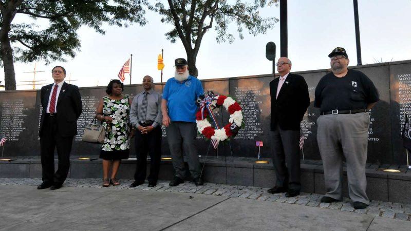 A wreath is laid at the Philadelphia Vietnam Veterans Memorial.