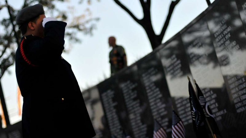Soldiers missing in action are saluted during a ceremony at the Vietnam Veterans Memorial in Philadelphia Friday.