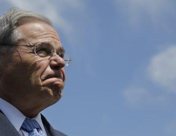 Closeup of U.S. Sen. Bob Menendez against blue sky
