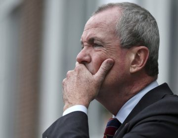 Democratic New Jersey gubernatorial candidate Phil Murphy listens to a question as he addresses a gathering outside Mercer County Community College on Monday in Trenton. Murphy said Monday that the tuition-free community college plan he's promising could cost $200 million. (AP Photo/Mel Evans)