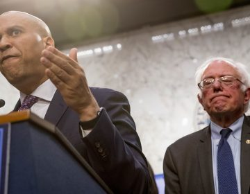 Sen. Cory Booker, D-N.J., (left), accompanied by Sen. Bernie Sanders, I-Vt., (right), speaks during a news conference on Capitol Hill in Washington, Wednesday, Sept. 13, 2017, to unveil their Medicare for All legislation to reform health care. (Andrew Harnik/AP Photo)