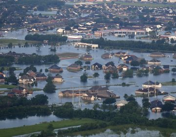 Floodwaters from Tropical Storm Harvey surround homes and businesses in Port Arthur, Texas, Thursday, Aug. 31, 2017. (Gerald Herbert/AP Photo)