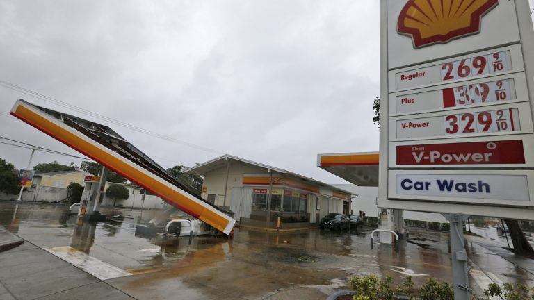 The metal canopy at a gasoline station is shown after it was overturned by high winds brought on by Hurricane Irma, Sunday, Sept. 10, 2017, in North Miami, Fla. (Wilfredo Lee/AP Photo)