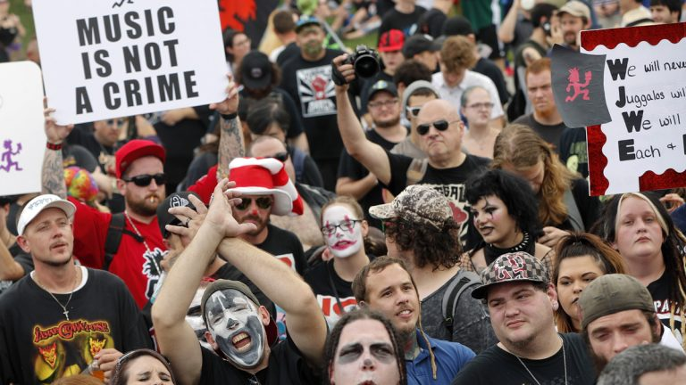 So-called juggalos, supporters of the rap group Insane Clown Posse, gather in front of the Lincoln Memorial in Washington during a rally, Saturday, Sept. 16, 2017. (Pablo Martinez Monsivais/AP Photo)