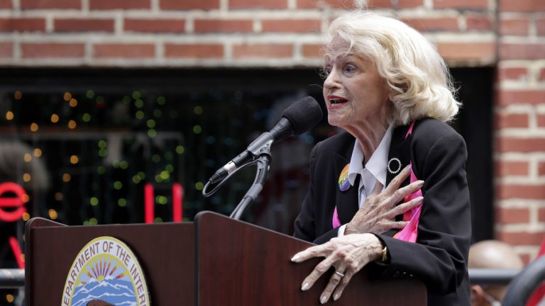 Edith Windsor leads the Pledge of Allegiance during the dedication of the Stonewall National Monument, outside the Stonewall Inn, in New York's Greenwich Village, Monday, June 27, 2016. Windsor passed away Tuesday in New York at the age of 88 (Richard Drew/AP Photo)
