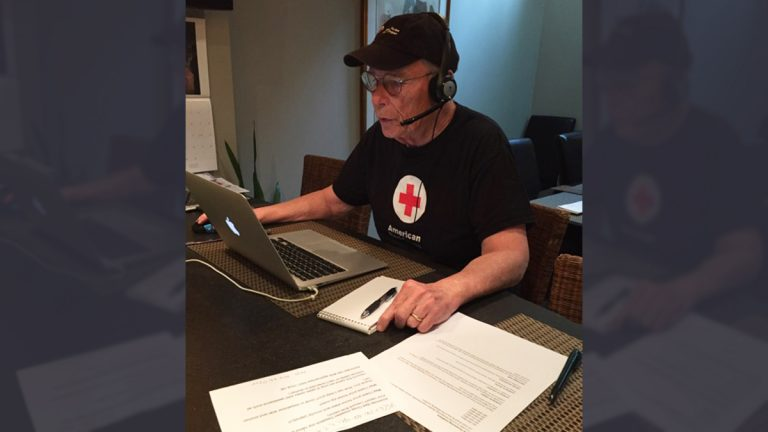 Bob Schmidt fields phone calls from Texas flood victims in Philadelphia. (Courtesy Bob Schmidt)