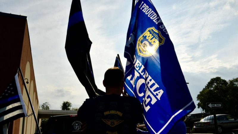 Hundreds from the local police community came to show support at a rally at the FOP lodge in Northeast Philadelphia on Thursday. (Bastiaan Slabbers for NewsWorks)