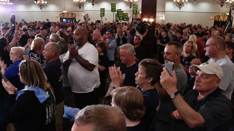Hundreds from the local police community came to show support at the FOP lodge in Northeast Philadelphia, on Thursday. (Bastiaan Slabbers for NewsWorks)