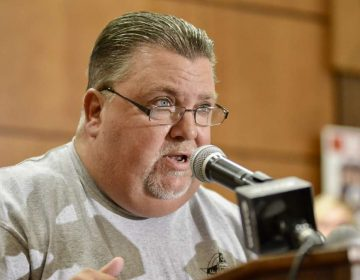 Fraternal Order of Police Lodge 5 President John McNesby is sh9own speaking at a Back the Blue rally at the FOP lodge in Northeast Philadelphia on Aug. 31. (Bastiaan Slabbers for NewsWorks)
