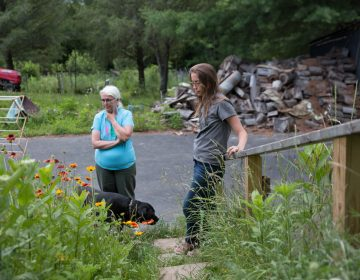 Ellen (left) and Elise Gerhart have been battling with Sunoco Logistics over the construction of the Mariner East 2 pipeline on their property in Huntingdon County, Pennsylvania. (Lindsay Lazarski/WHYY)