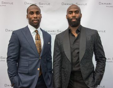Anquan Boldin, (left) a former NFL player, joins current Eagles player Malcolm Jenkins as he launches his campaign supporting Pa's Clean Slate bill. (Emily Cohen for NewsWorks)
