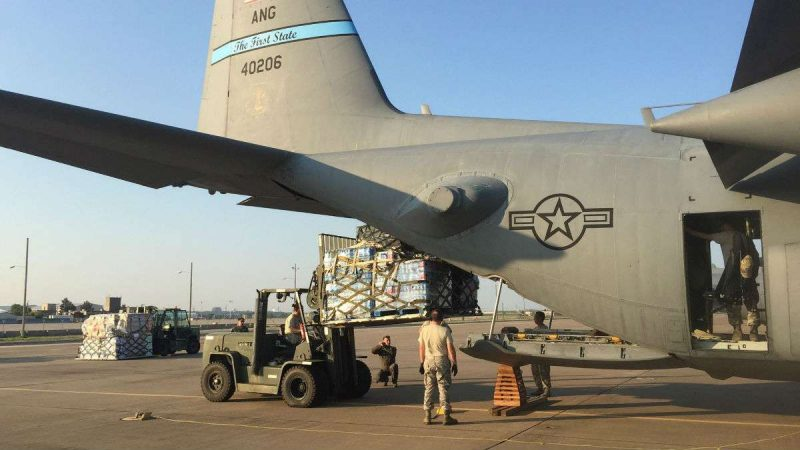 Delaware National Guard plane, crew return from Harvey mission (photo courtesy Andrew Spears/Delaware National Guard)