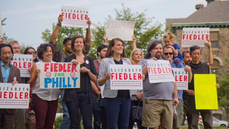 Elizabeth Fielder announces her campaign to unseat state Rep. Bill Keller in the 184th district of South Philadelphia. (Kimberly Paynter/WHYY)