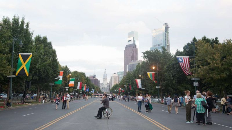 The Ben Franklin Parkway is closed to traffic