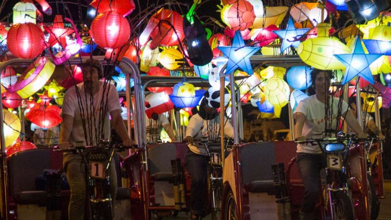 The 27 pedicabs make up the art installation ''Fireflies'' by Chinese artist Cai Guo-Qiang. (Emily Cohen for NewsWorks)