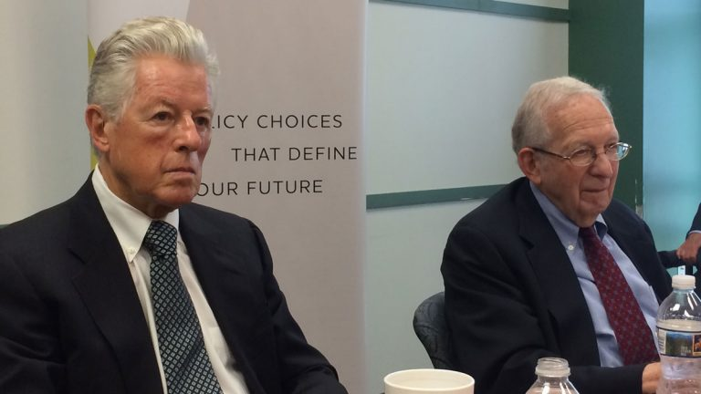 Former Governor Jim Florio and Martin Robins, director emeritus of Voorhees Transportation Center at Rutgers, say transportation improvements should be a priority for New Jersey's next governor. (Phil Gregory/WHYY)