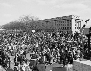 In this Saturday, April 1, 1972, file photo, Daniel Ellsberg, chief defendant in the Pentagon Papers case, addresses a crowd at the State Capitol in Harrisburg, Pa. following an anti-war parade that ended at the Capitol. (AP Photo/Rusty Kennedy)