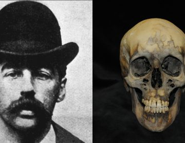 Serial killer H. H. Holmes is depicted in an 1895 photo beside the skull exhumed from his grave at Holy Cross Cemetery in Yeadon. (Wikimedia Commons and Penn Museum)