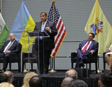 New Jersey Gov. Chris Christie speaks at the ribbon-cutting ceremony for Holtec International in Camden. The plant for manufacturing nuclear waste storage containers and small nuclear reactors was lured to the Camden waterfront by $260 million in tax breaks. (Emma Lee/WHYY)