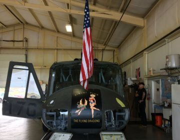 A picture of Huey 823. The Liberty War Birds are restoring the UH-1H for flight (Shirley Min/WHYY)