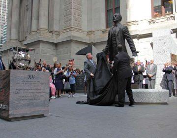 Philadelphia Mayor Jim Kenney and sculptor Branly Cadet