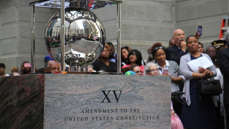A portion of the Octavius Catto monument commemorates the Fifteenth Amendement to the U.S. Constitution, signified with a shiny, silver orb