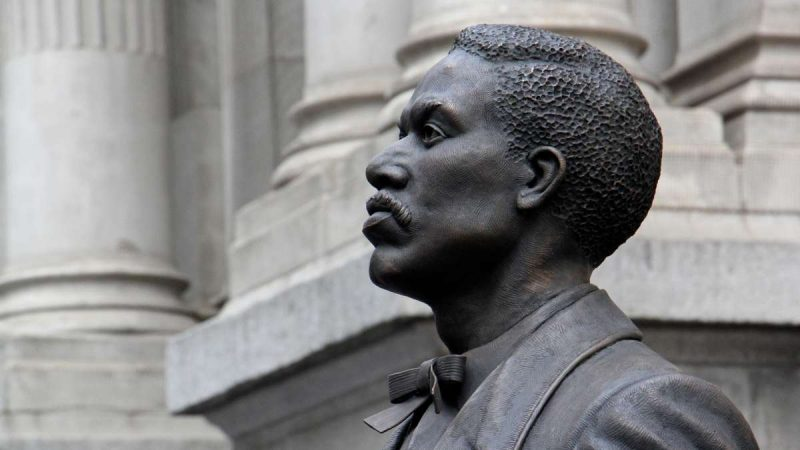 Close up of the sculpture; the face of Octavius Catto seen from the side, looking left