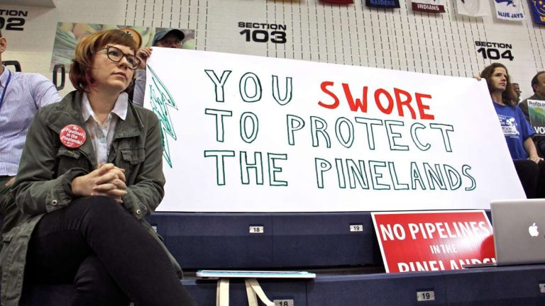 Protesters armed with signs fill the bleachers at Pine Belt Arena in Toms River, where the New Jersey Pinelands Commission held a public hearing on a proposed natural gas pipeline through Burlington and Ocean counties. (Emma Lee/WHYY)
