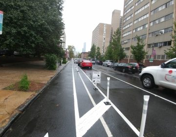New 'buffered' bike lanes unveiled on Chestnut Street in West Philadelphia. Bike lane is to the left, on-street parking is next and after that are regular travel lanes (Tom MacDonald/WHYY).
