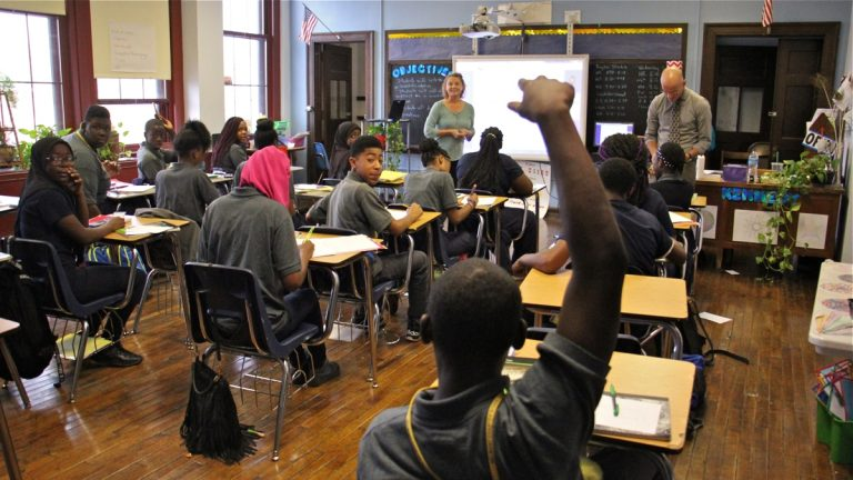 Students attend class at Belmont Charter School in West Philadelphia. (Emma Lee/WHYY, file)
