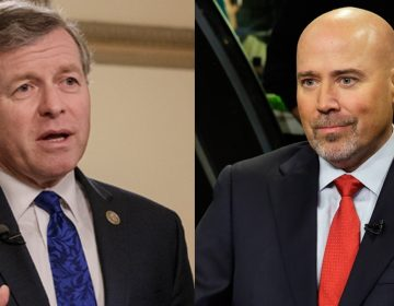 Split screen of Republicans U.S. Reps. Charlie Dent of Pennsylvania (left) and Tom MacArthur; dent in blue tie, MacArthur in red