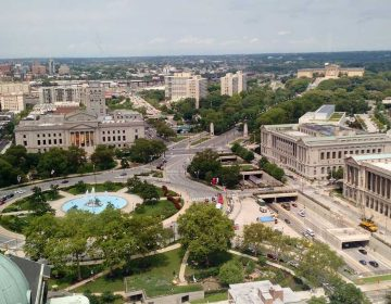A view of the Benjamin Franklin Parkway from the Sheraton Philadelphia Downtown Hotel. (Katie Colaneri/WHYY, file)