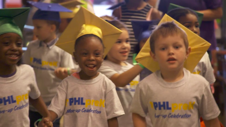 Image of PHL pre-K students from recent Bloomberg television ad (image via Bloomberg)
