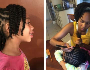 Left: The author's daughter, Leilani, is shown after the hair-styling experience described below. Right: Leilani and the author's wife, Rashida, are shown in a typical hair-styling session. (Courtesy of Timothy Welbeck)